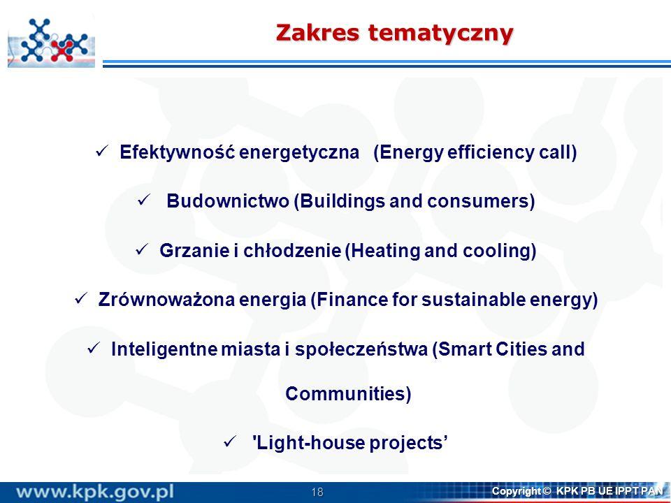 Zakres tematyczny Efektywność energetyczna (Energy efficiency call)