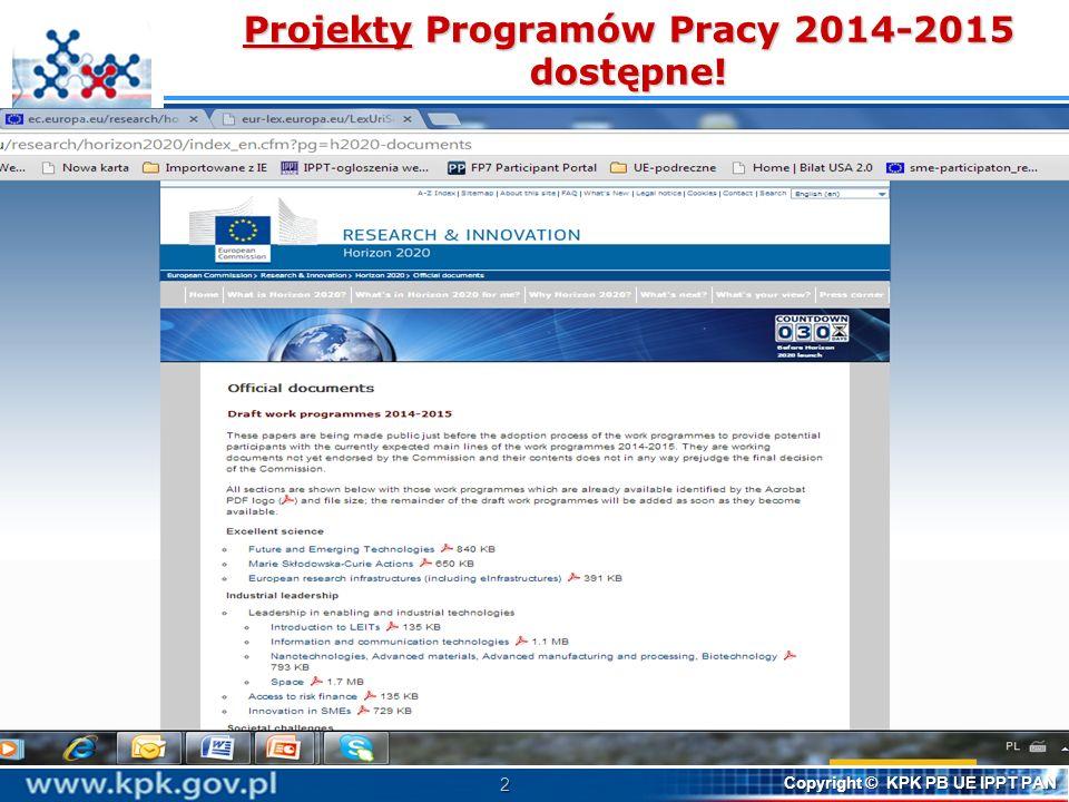 Projekty Programów Pracy 2014-2015 dostępne!