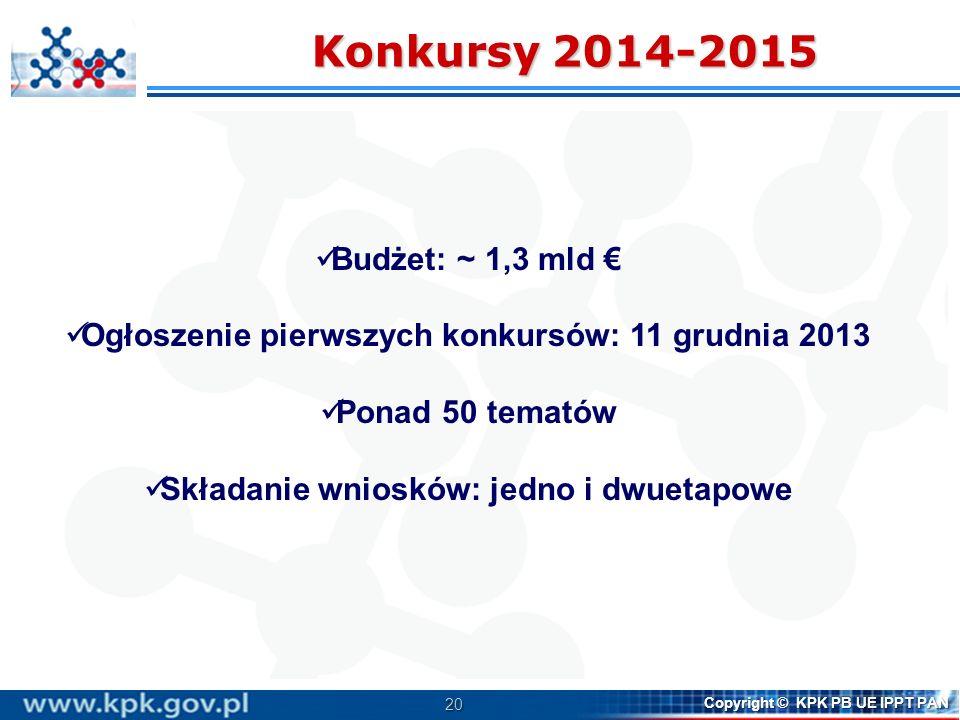 Konkursy 2014-2015 Budżet: ~ 1,3 mld €