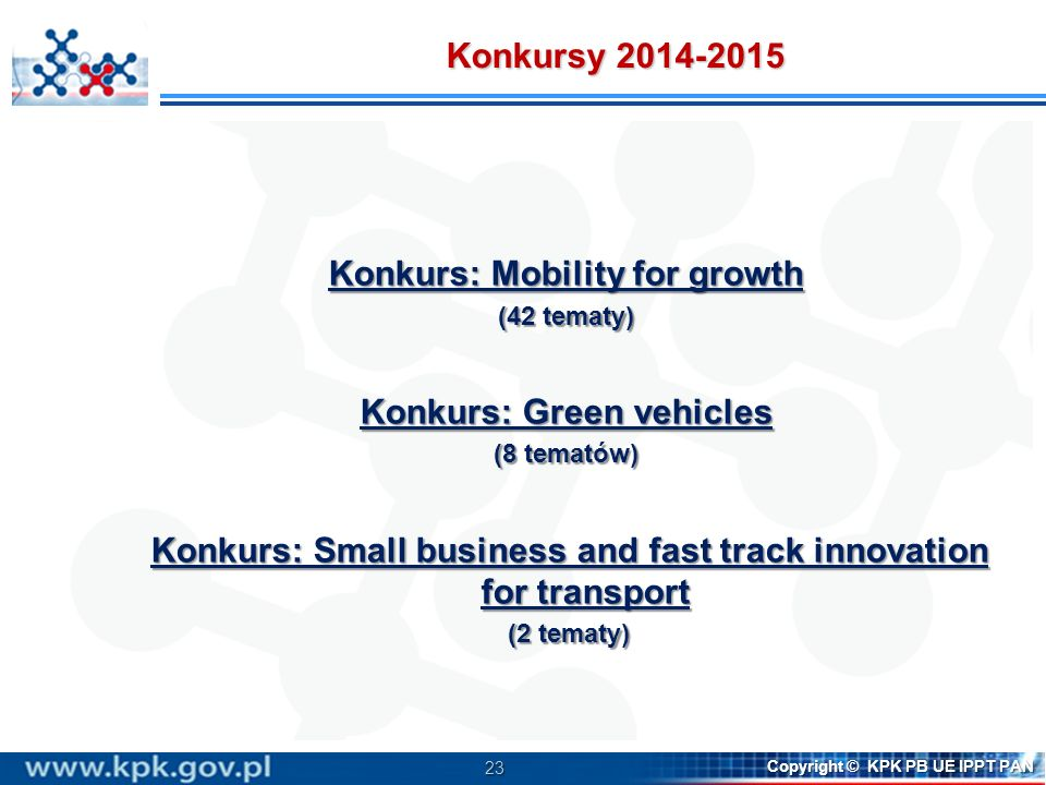 Konkurs: Mobility for growth