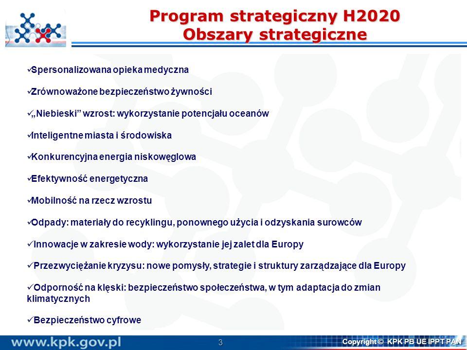 Program strategiczny H2020 Obszary strategiczne