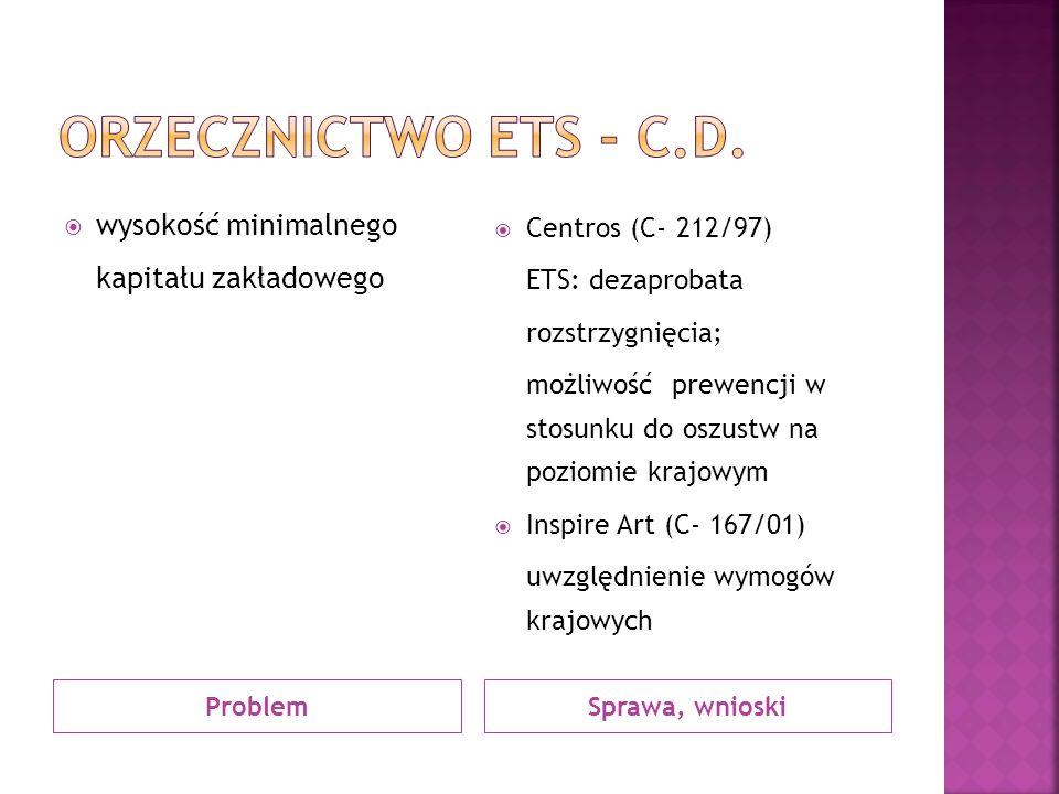 Orzecznictwo ets - c.d. wysokość minimalnego kapitału zakładowego