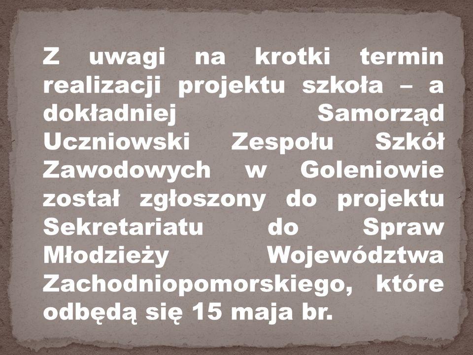 Z uwagi na krotki termin realizacji projektu szkoła – a dokładniej Samorząd Uczniowski Zespołu Szkół Zawodowych w Goleniowie został zgłoszony do projektu Sekretariatu do Spraw Młodzieży Województwa Zachodniopomorskiego, które odbędą się 15 maja br.