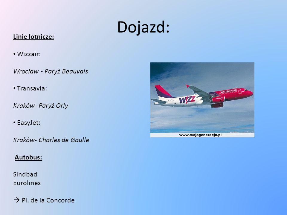 Dojazd: Linie lotnicze: Wizzair: Wrocław - Paryż Beauvais Transavia: