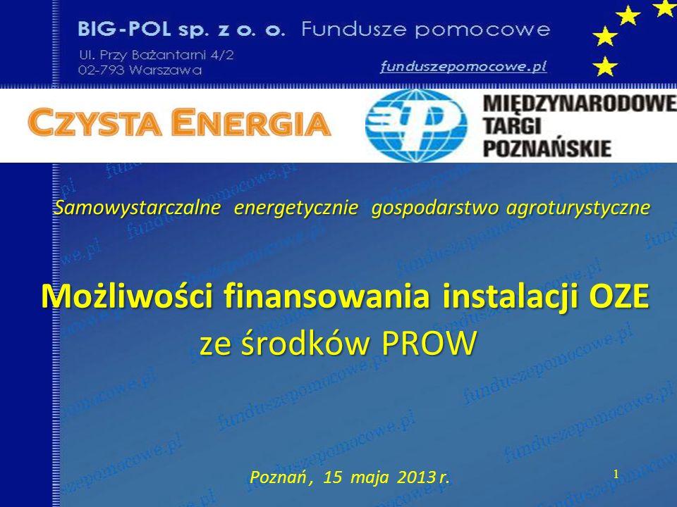 Możliwości finansowania instalacji OZE ze środków PROW