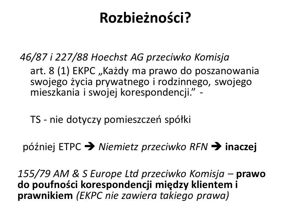 Rozbieżności 46/87 i 227/88 Hoechst AG przeciwko Komisja