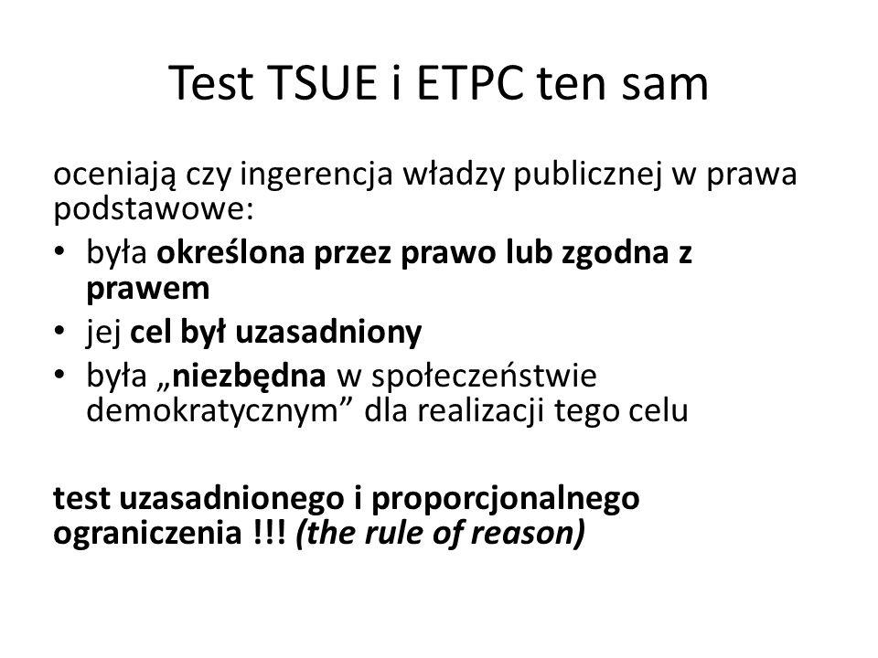 Test TSUE i ETPC ten sam oceniają czy ingerencja władzy publicznej w prawa podstawowe: była określona przez prawo lub zgodna z prawem.
