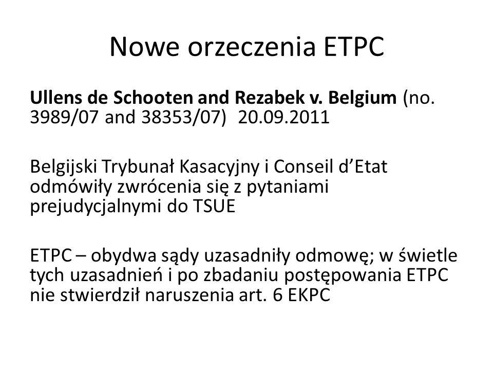Nowe orzeczenia ETPC