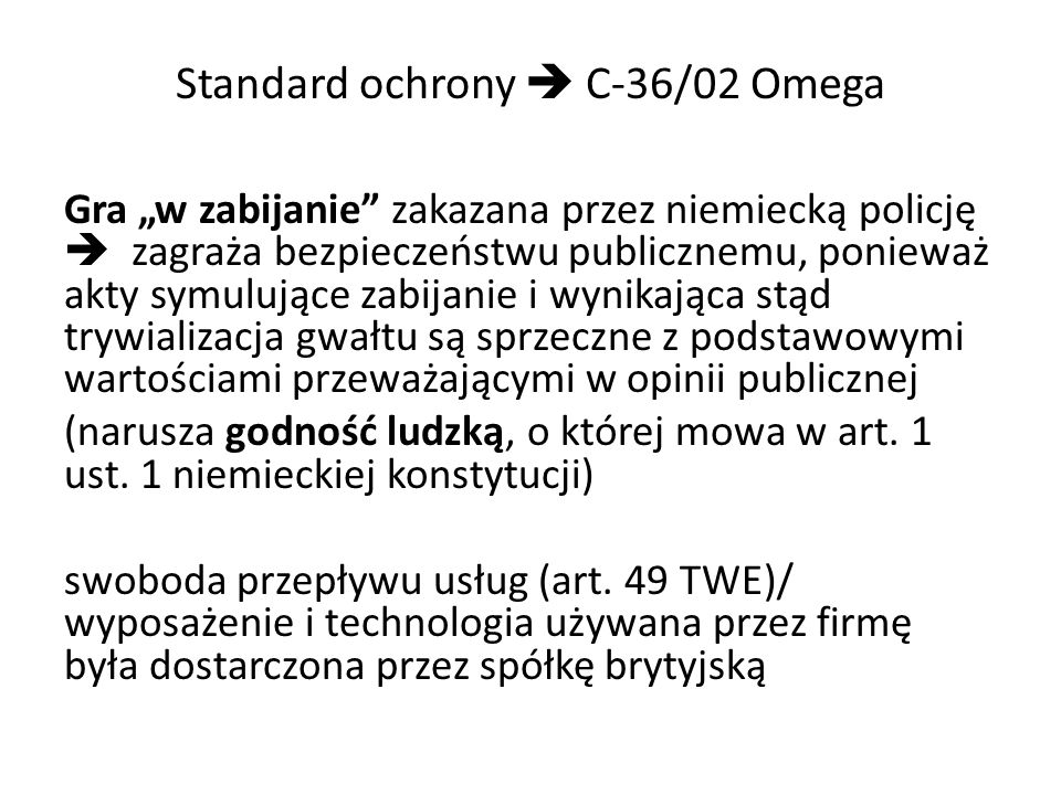 Standard ochrony  C-36/02 Omega