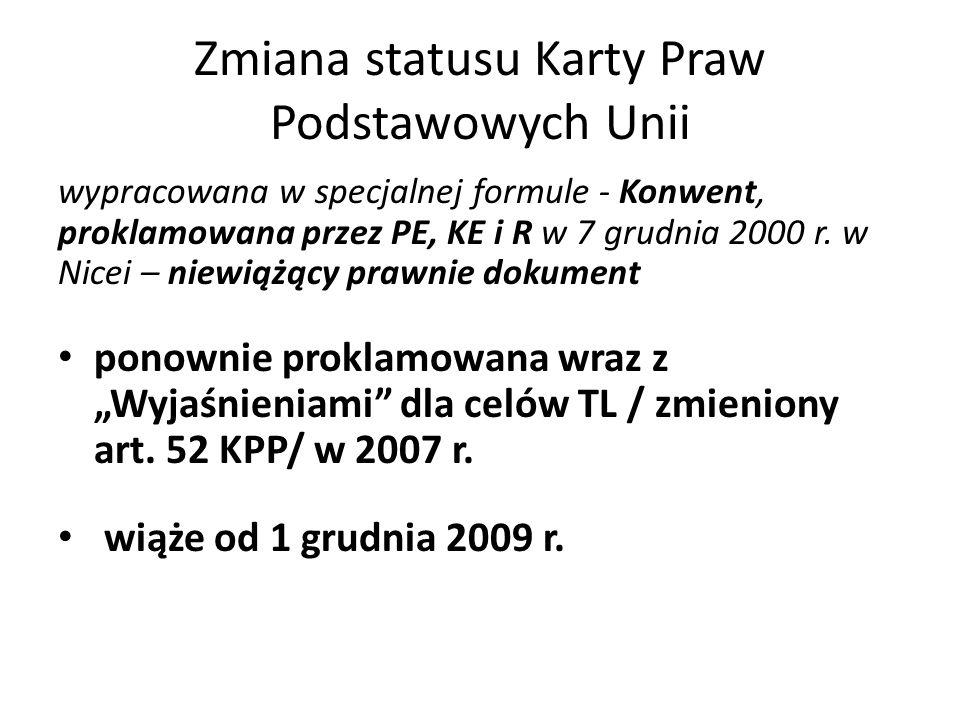 Zmiana statusu Karty Praw Podstawowych Unii