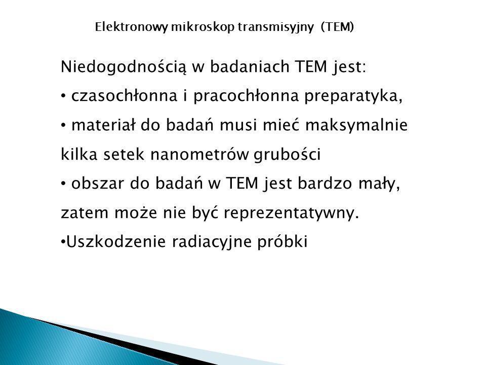 Niedogodnością w badaniach TEM jest: