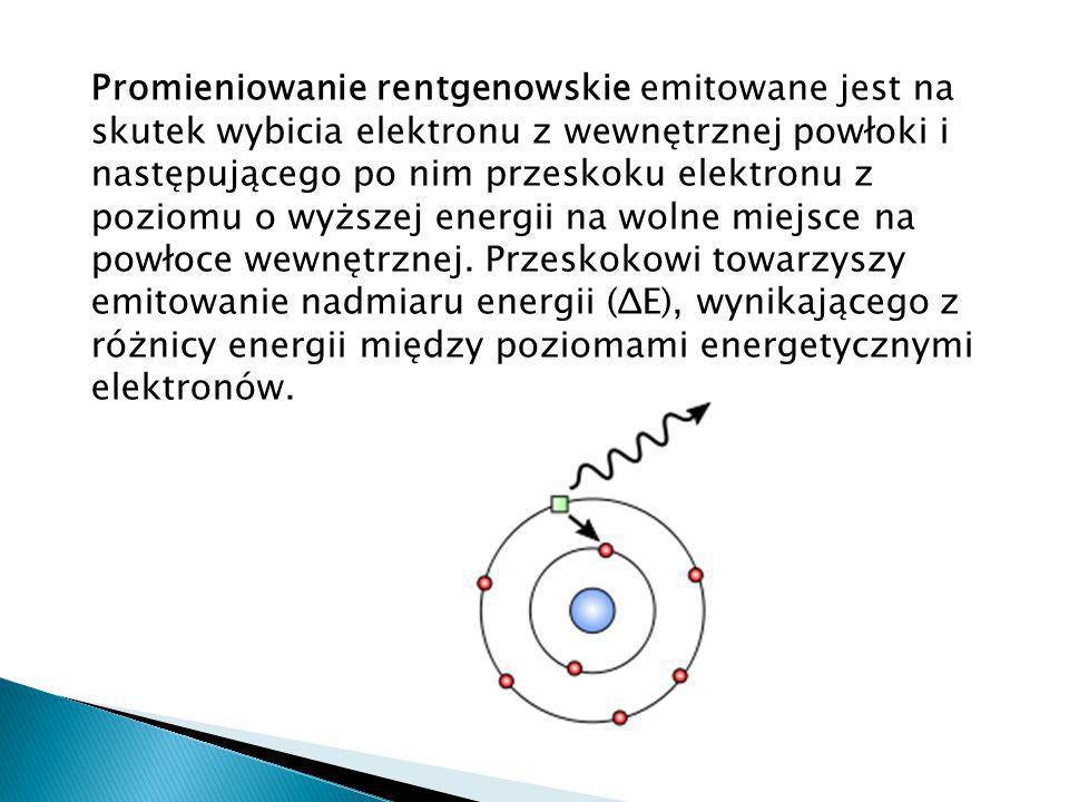 Promieniowanie rentgenowskie emitowane jest na skutek wybicia elektronu z wewnętrznej powłoki i następującego po nim przeskoku elektronu z poziomu o wyższej energii na wolne miejsce na powłoce wewnętrznej.