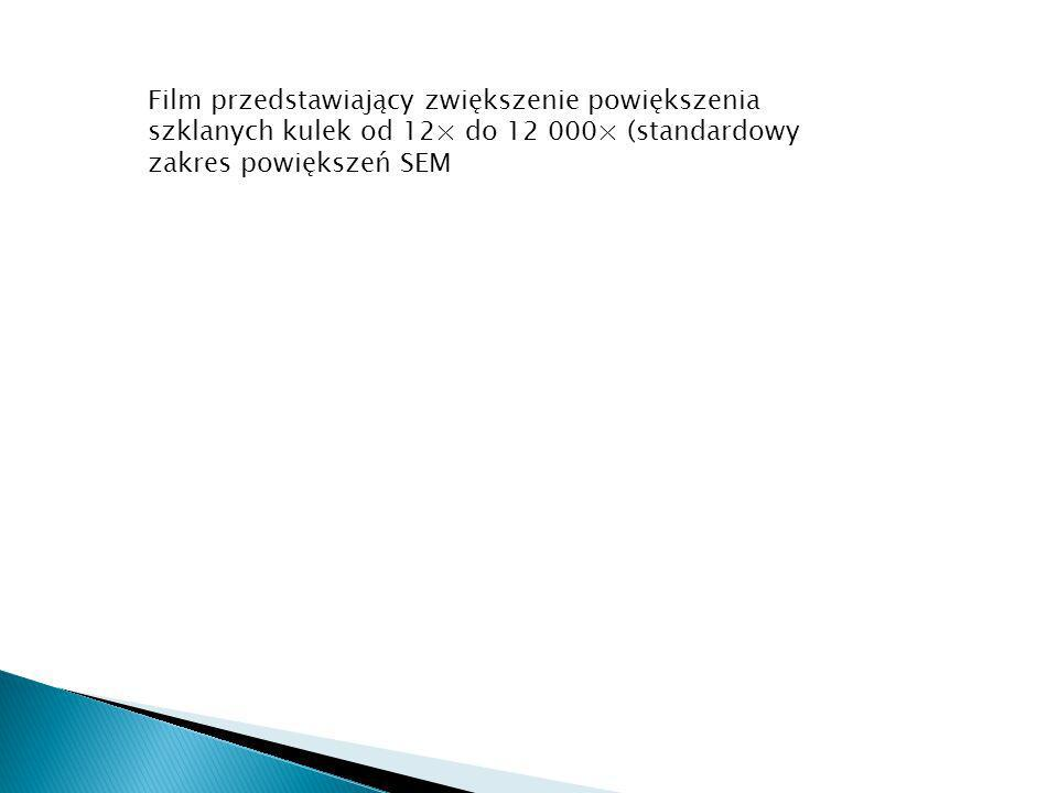 Film przedstawiający zwiększenie powiększenia szklanych kulek od 12× do 12 000× (standardowy zakres powiększeń SEM