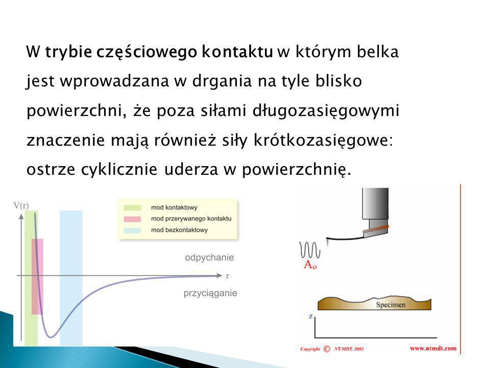 W trybie częściowego kontaktu w którym belka jest wprowadzana w drgania na tyle blisko powierzchni, że poza siłami długozasięgowymi znaczenie mają również siły krótkozasięgowe: ostrze cyklicznie uderza w powierzchnię.