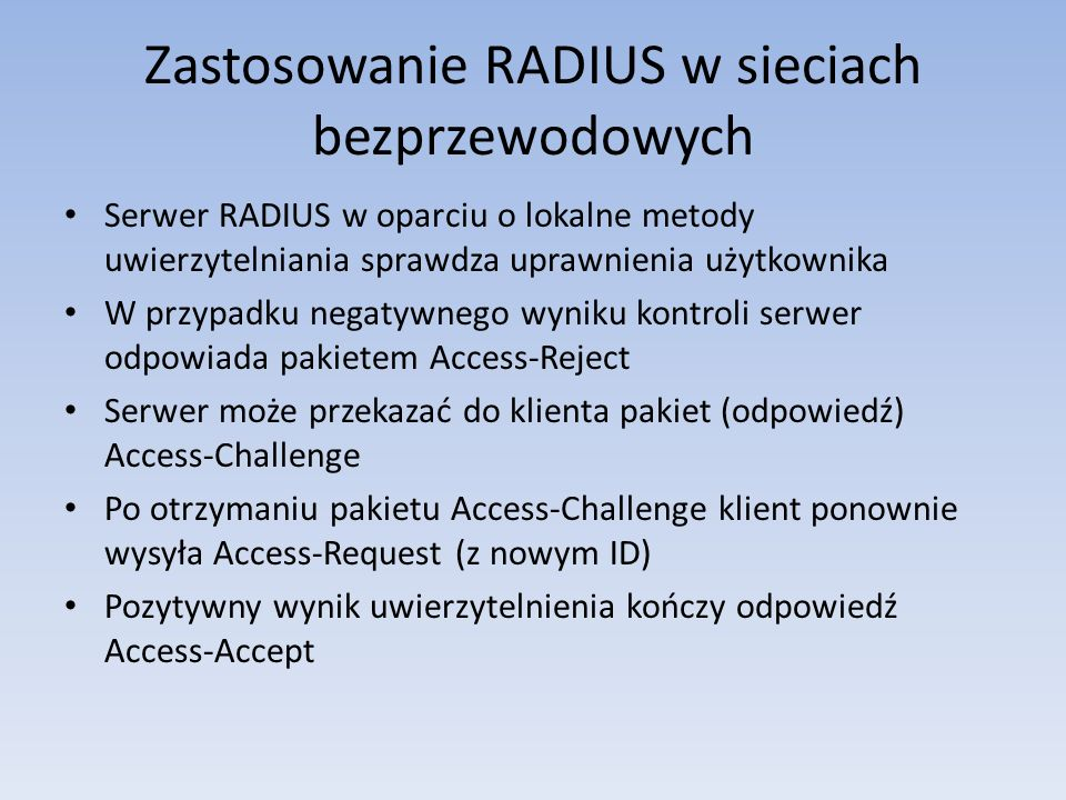 Zastosowanie RADIUS w sieciach bezprzewodowych