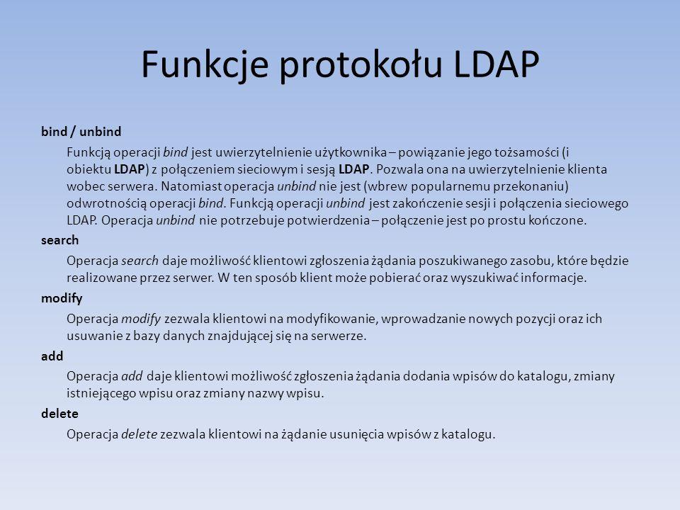 Funkcje protokołu LDAP