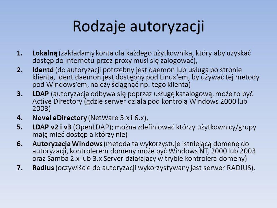 Rodzaje autoryzacji Lokalną (zakładamy konta dla każdego użytkownika, który aby uzyskać dostęp do internetu przez proxy musi się zalogować),