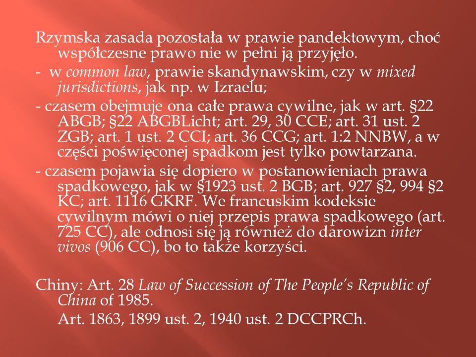 Rzymska zasada pozostała w prawie pandektowym, choć współczesne prawo nie w pełni ją przyjęło.