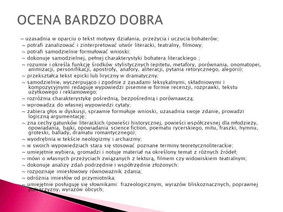 OCENA BARDZO DOBRA
