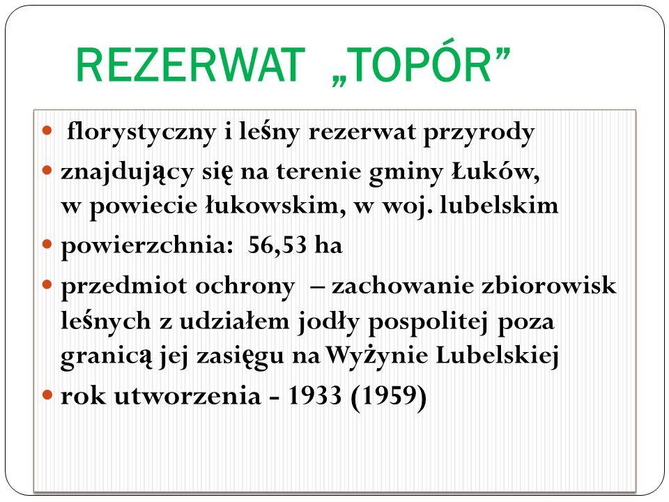 "REZERWAT ""TOPÓR rok utworzenia - 1933 (1959)"