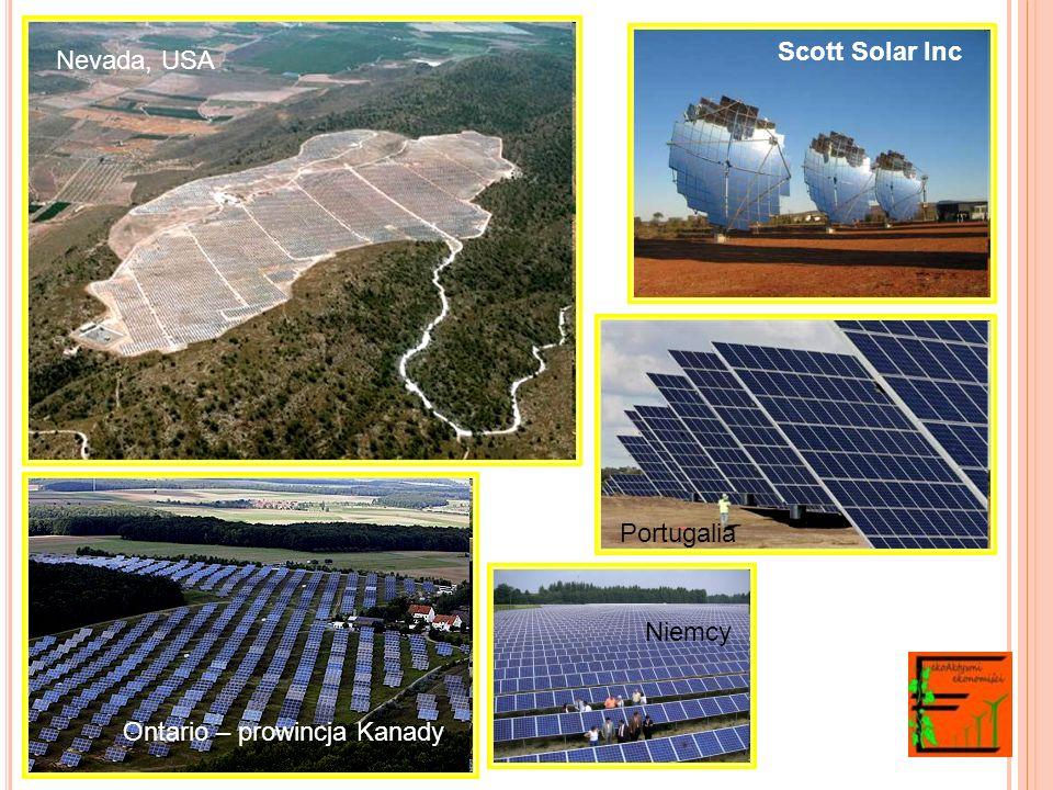 Scott Solar Inc Nevada, USA Portugalia Niemcy Ontario – prowincja Kanady