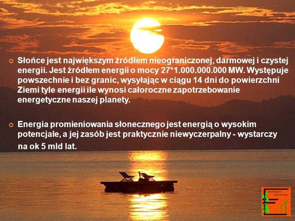 Słońce jest największym źródłem nieograniczonej, darmowej i czystej energii. Jest źródłem energii o mocy 27*1.000.000.000 MW. Występuje powszechnie i bez granic, wysyłając w ciągu 14 dni do powierzchni Ziemi tyle energii ile wynosi całoroczne zapotrzebowanie energetyczne naszej planety.