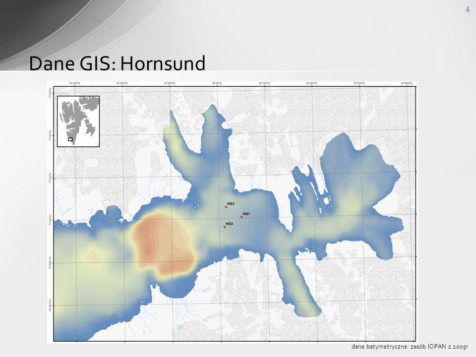 Dane GIS: Hornsund dane batymetryczne: zasób IOPAN z 2005r