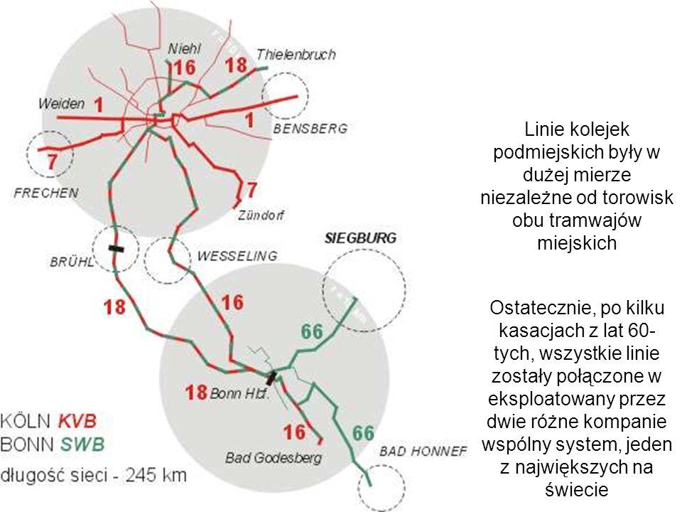 Linie kolejek podmiejskich były w dużej mierze niezależne od torowisk obu tramwajów miejskich