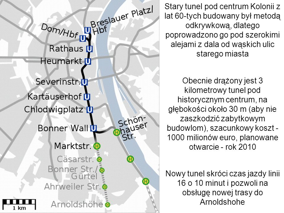 Stary tunel pod centrum Kolonii z lat 60-tych budowany był metodą odkrywkową, dlatego poprowadzono go pod szerokimi alejami z dala od wąskich ulic starego miasta