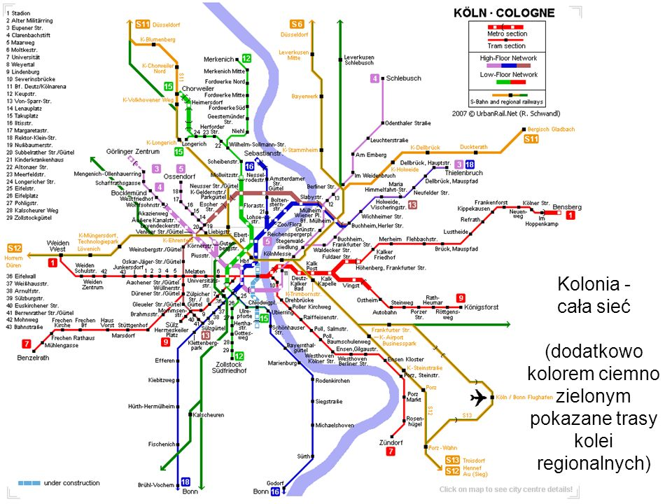 (dodatkowo kolorem ciemno zielonym pokazane trasy kolei regionalnych)