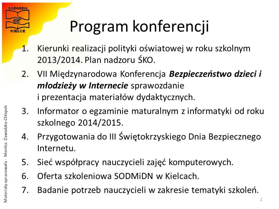 Program konferencji Kierunki realizacji polityki oświatowej w roku szkolnym 2013/2014. Plan nadzoru ŚKO.