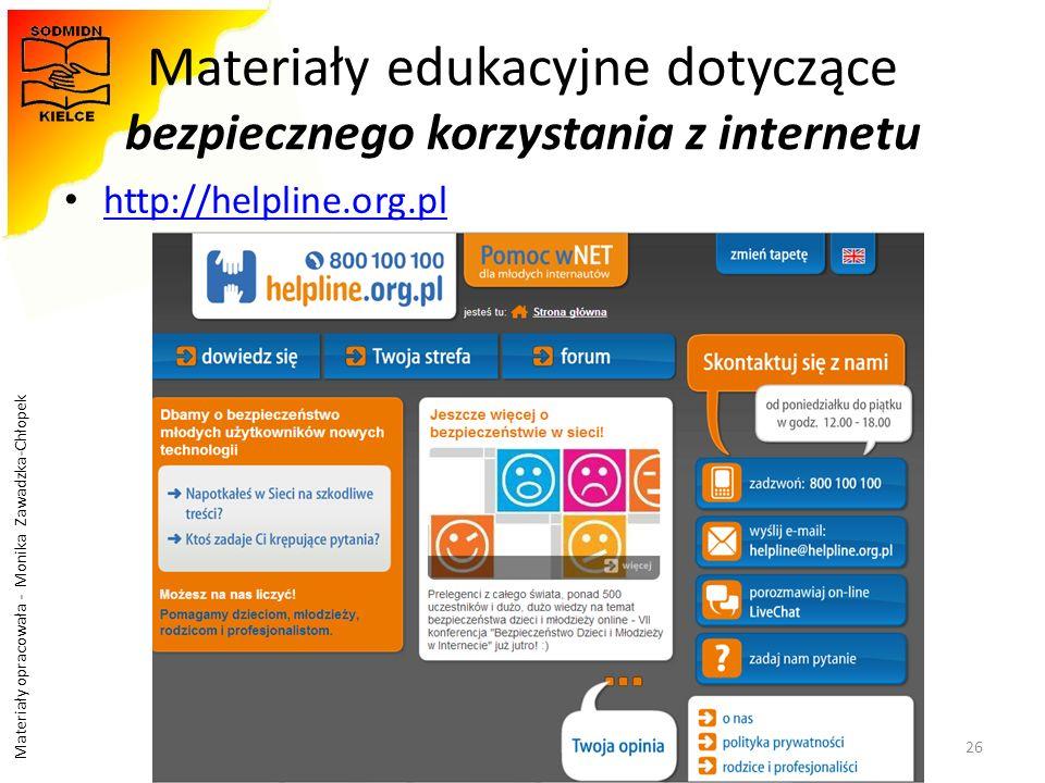 Materiały edukacyjne dotyczące bezpiecznego korzystania z internetu
