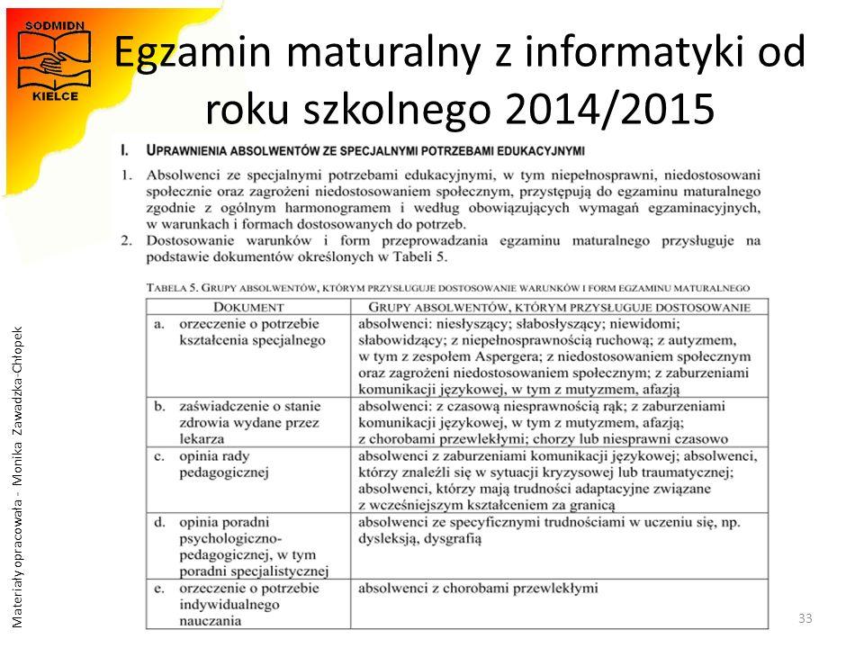 Egzamin maturalny z informatyki od roku szkolnego 2014/2015
