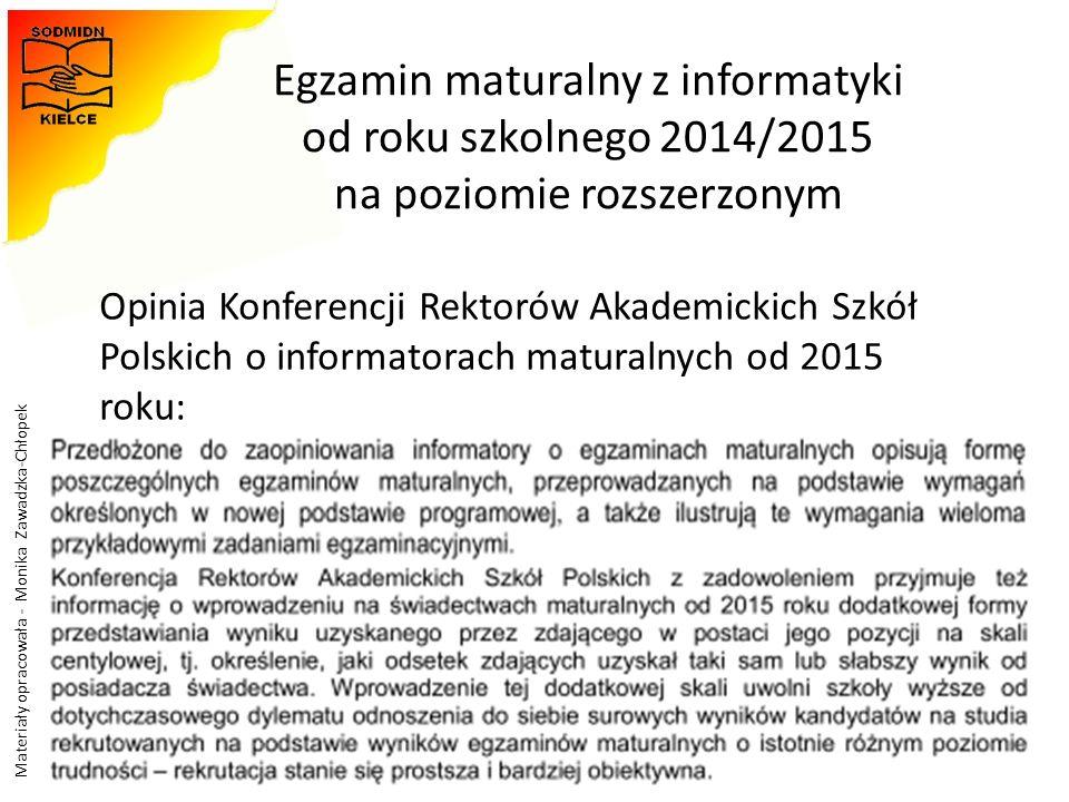 Egzamin maturalny z informatyki od roku szkolnego 2014/2015 na poziomie rozszerzonym