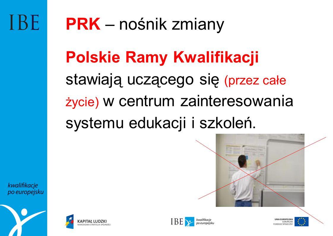 PRK – nośnik zmianyPolskie Ramy Kwalifikacji stawiają uczącego się (przez całe życie) w centrum zainteresowania systemu edukacji i szkoleń.