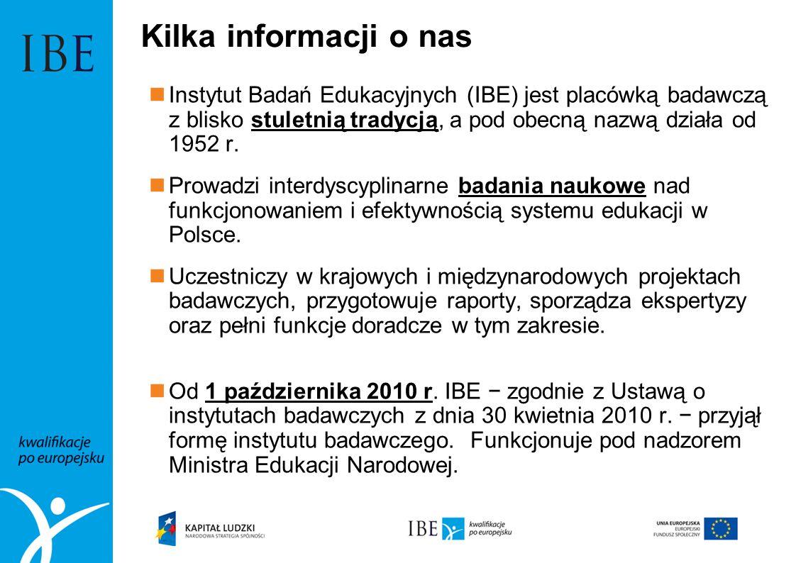 Kilka informacji o nasInstytut Badań Edukacyjnych (IBE) jest placówką badawczą z blisko stuletnią tradycją, a pod obecną nazwą działa od 1952 r.