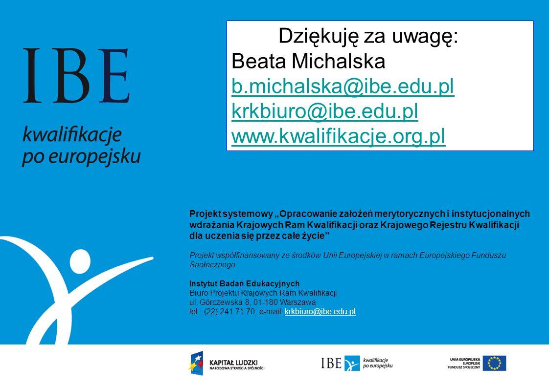 Dziękuję za uwagę: Beata Michalska. b.michalska@ibe.edu.pl.
