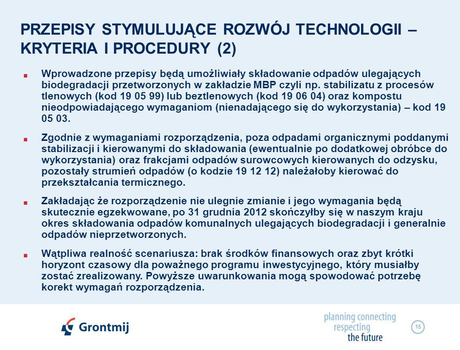 PRZEPISY STYMULUJĄCE ROZWÓJ TECHNOLOGII – KRYTERIA I PROCEDURY (2)