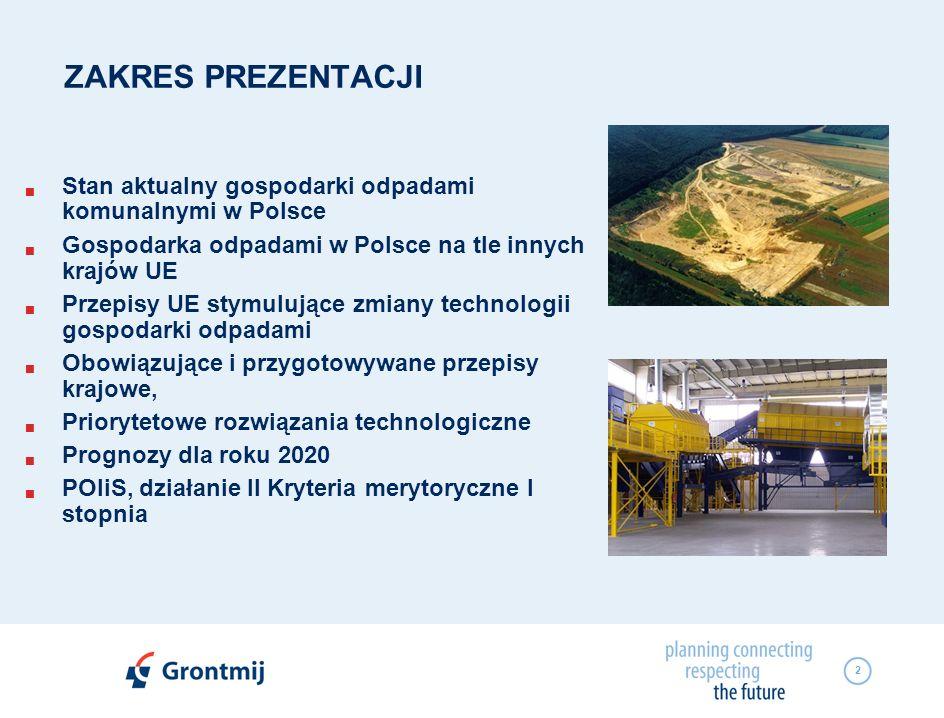 ZAKRES PREZENTACJI Stan aktualny gospodarki odpadami komunalnymi w Polsce. Gospodarka odpadami w Polsce na tle innych krajów UE.