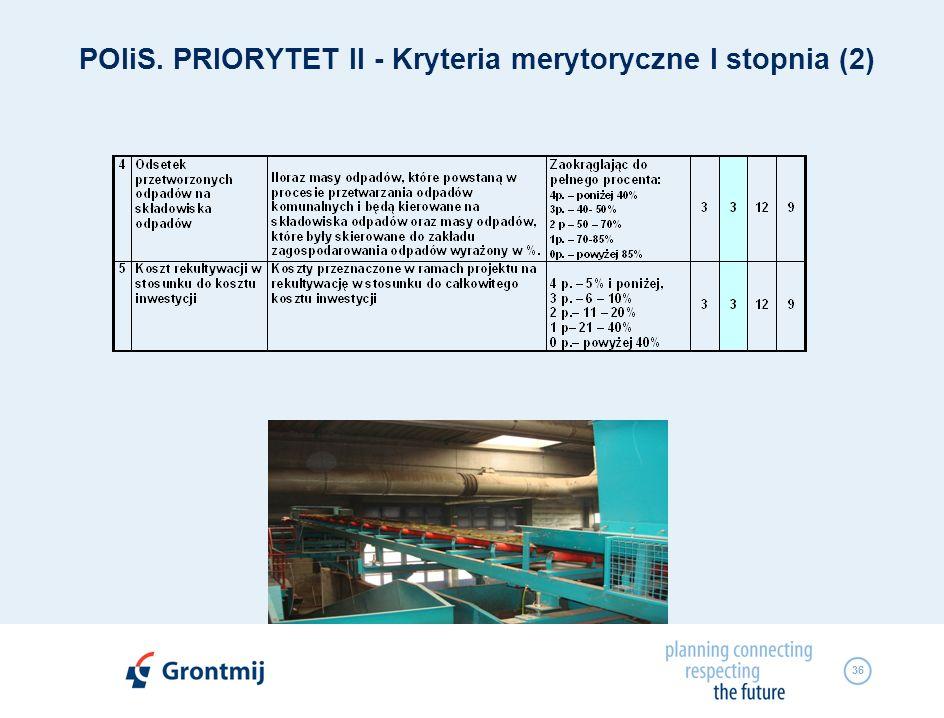 POIiS. PRIORYTET II - Kryteria merytoryczne I stopnia (2)