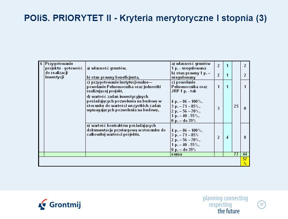 POIiS. PRIORYTET II - Kryteria merytoryczne I stopnia (3)