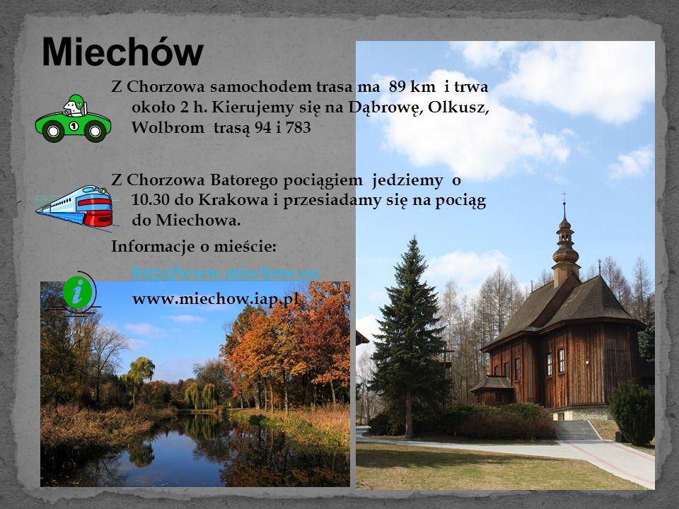 Miechów Z Chorzowa samochodem trasa ma 89 km i trwa około 2 h. Kierujemy się na Dąbrowę, Olkusz, Wolbrom trasą 94 i 783.