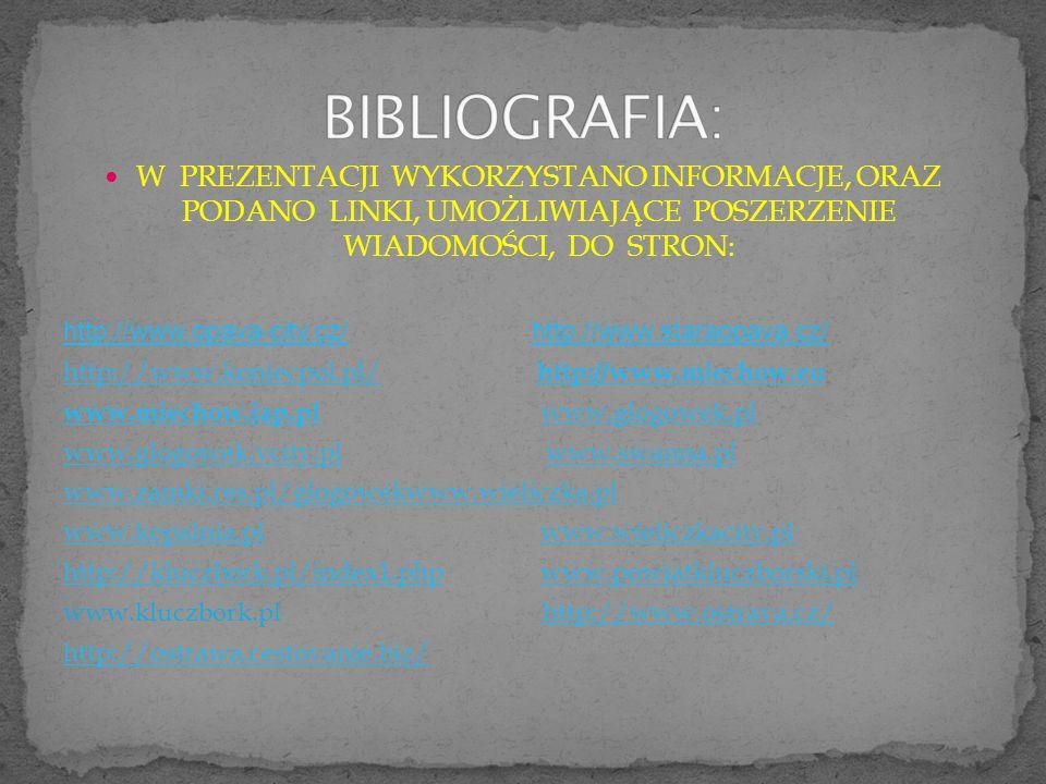 BIBLIOGRAFIA: W PREZENTACJI WYKORZYSTANO INFORMACJE, ORAZ PODANO LINKI, UMOŻLIWIAJĄCE POSZERZENIE WIADOMOŚCI, DO STRON: