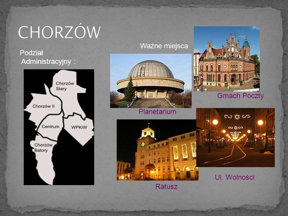 CHORZÓW Ważne miejsca Podział Administracyjny : Gmach Poczty