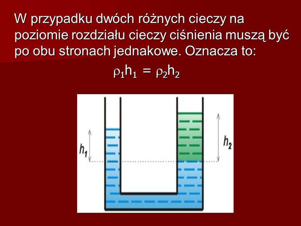 W przypadku dwóch różnych cieczy na poziomie rozdziału cieczy ciśnienia muszą być po obu stronach jednakowe. Oznacza to: