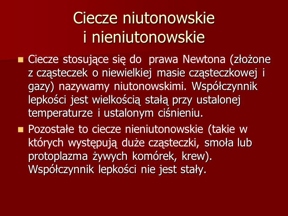 Ciecze niutonowskie i nieniutonowskie