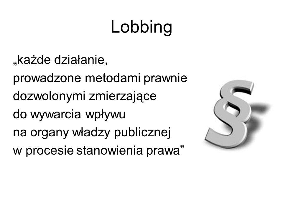 """Lobbing """"każde działanie, prowadzone metodami prawnie"""