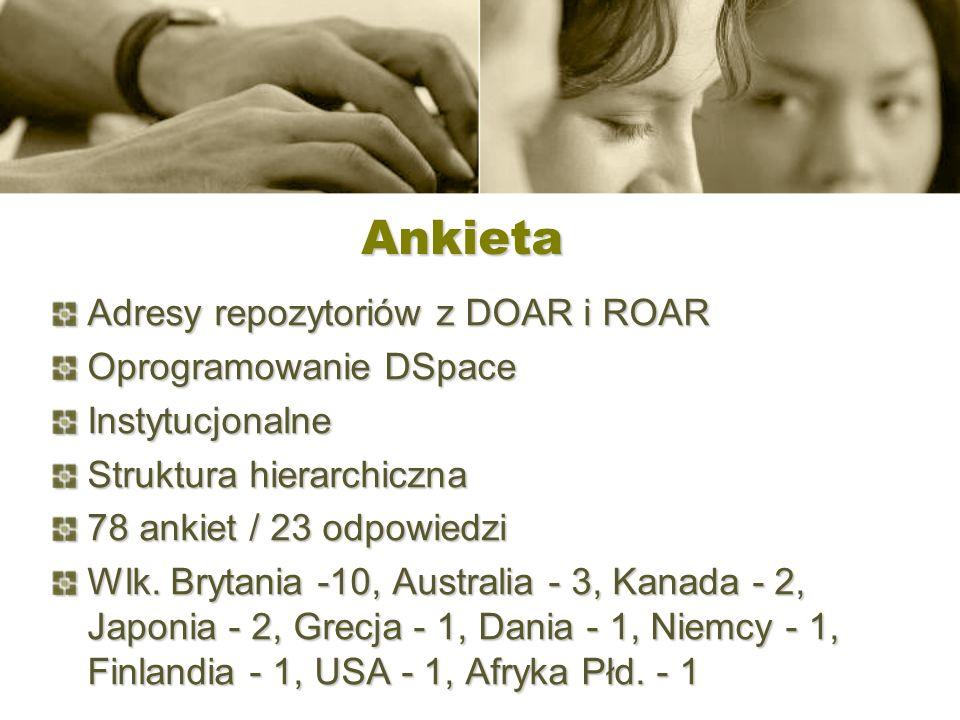 Ankieta Adresy repozytoriów z DOAR i ROAR Oprogramowanie DSpace