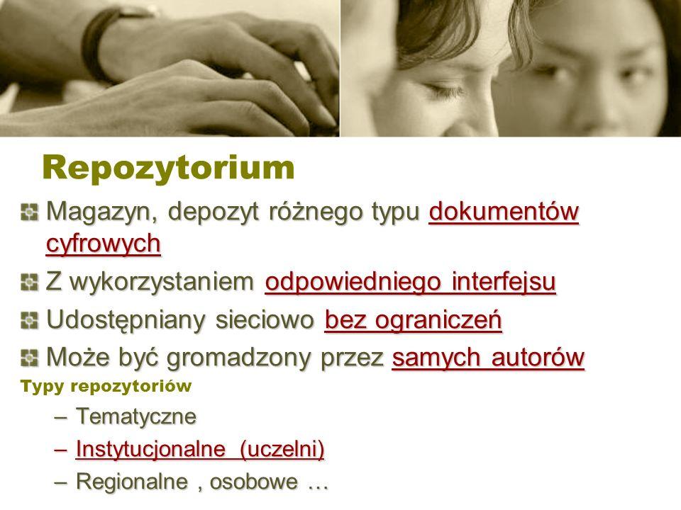 Repozytorium Magazyn, depozyt różnego typu dokumentów cyfrowych