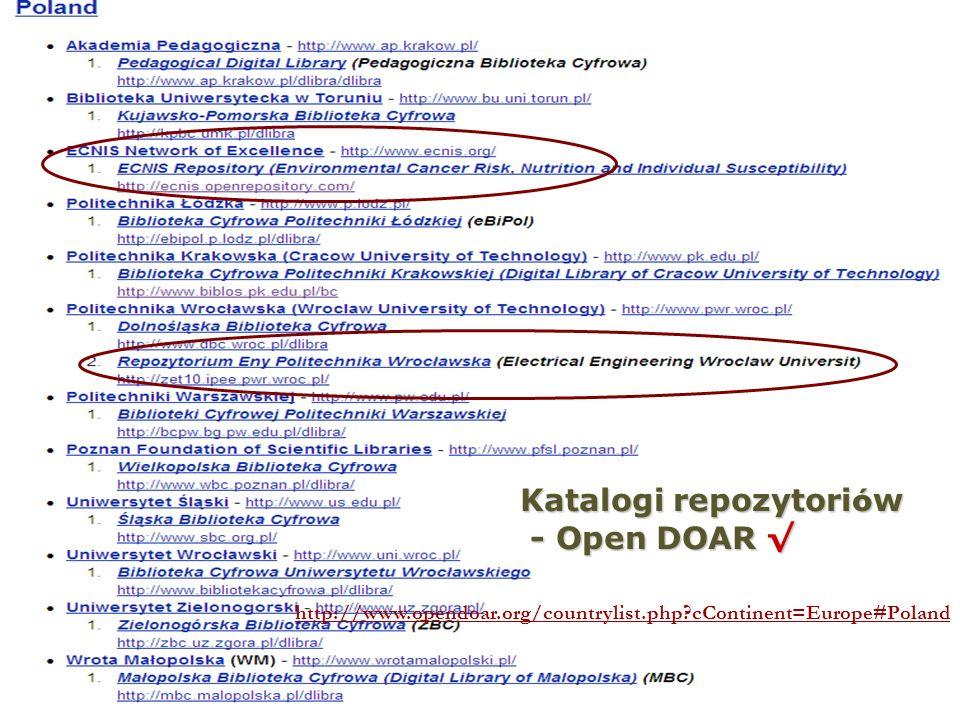 Katalogi repozytoriów - Open DOAR √